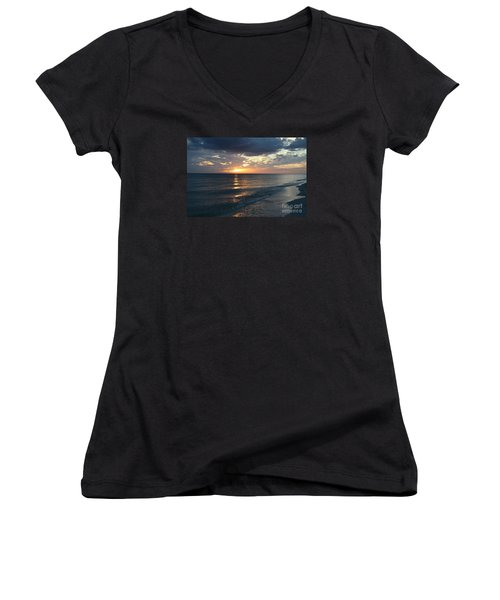Days End Over Sanibel Island Women's V-Neck T-Shirt (Junior Cut) by Christiane Schulze Art And Photography