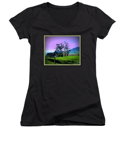 Women's V-Neck T-Shirt (Junior Cut) featuring the photograph Days Gone By by Bobbee Rickard