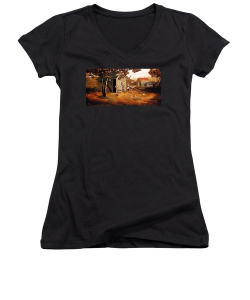 Days Of Discovery Women's V-Neck T-Shirt (Junior Cut) by Duane R Probus