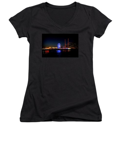 Women's V-Neck T-Shirt (Junior Cut) featuring the photograph Daytona At Night by Laurie Perry