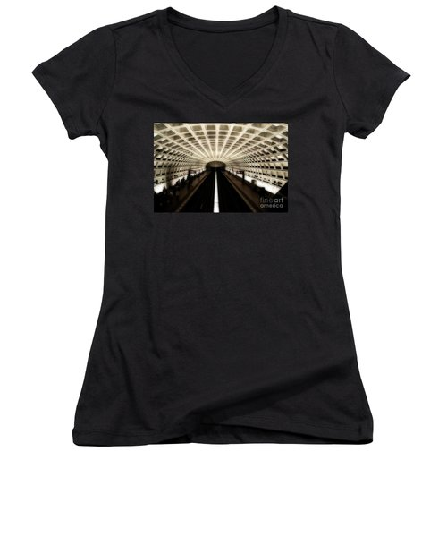 Dc Metro Women's V-Neck T-Shirt (Junior Cut) by Angela DeFrias