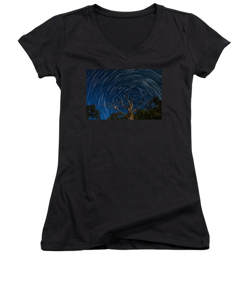 Dead Oak With Star Trails Women's V-Neck (Athletic Fit)