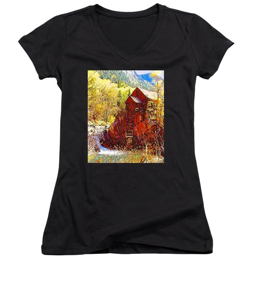 Deadhorse Mill Women's V-Neck T-Shirt (Junior Cut) by Dan Miller