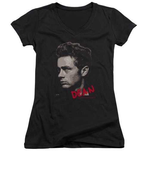 Dean - Large Halftones Women's V-Neck T-Shirt (Junior Cut) by Brand A