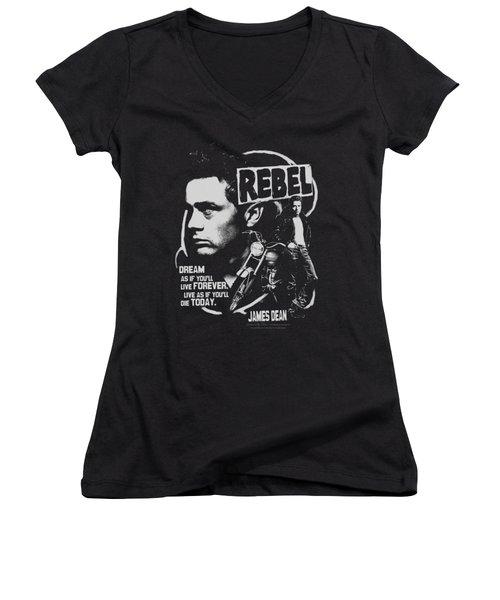 Dean - Rebel Cover Women's V-Neck T-Shirt (Junior Cut)