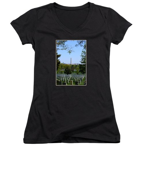 Debt Of Gratitude Women's V-Neck T-Shirt (Junior Cut) by Patti Whitten
