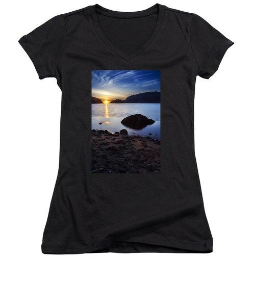 Deception Pass 3 Women's V-Neck T-Shirt (Junior Cut) by Sonya Lang