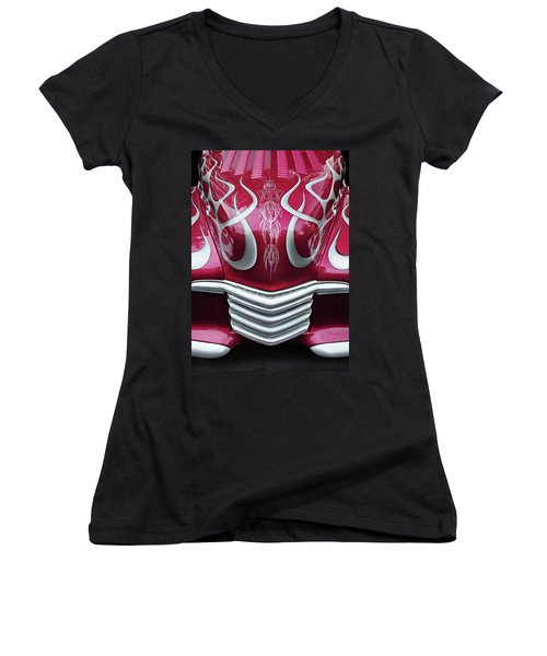 Women's V-Neck T-Shirt (Junior Cut) featuring the photograph Decorative Chevrolet Hood by Dave Mills