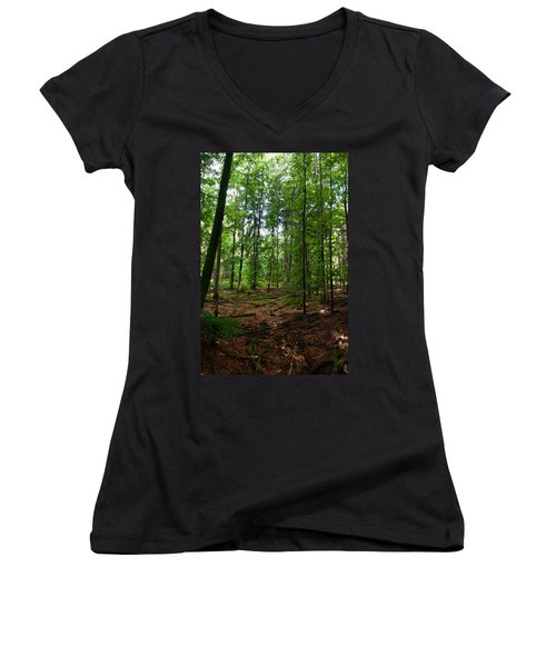 Deep Forest Trails Women's V-Neck T-Shirt (Junior Cut) by Miguel Winterpacht