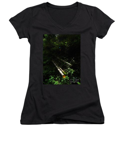 Deep In The Woods Women's V-Neck T-Shirt (Junior Cut) by Andy Prendy