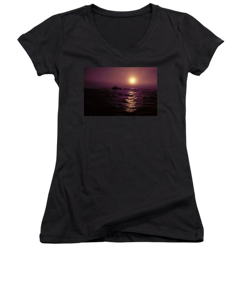 Deep Sea Fishing Off West Port Wa II Women's V-Neck T-Shirt (Junior Cut) by Greg Reed
