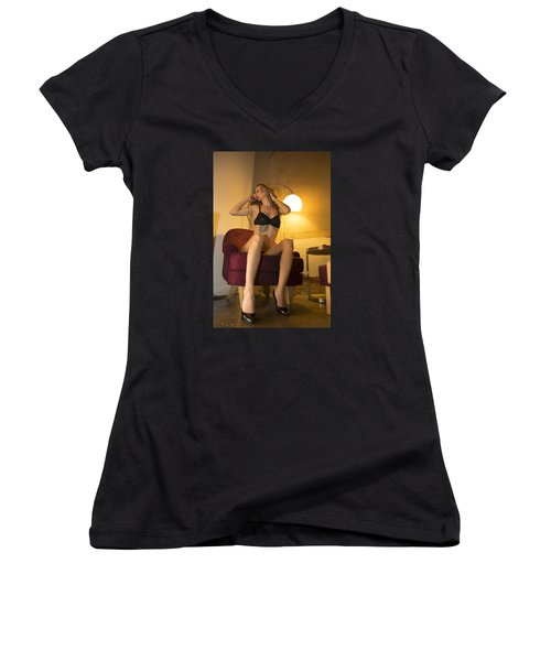 Women's V-Neck T-Shirt (Junior Cut) featuring the photograph Deep Thoughts 0 by Mez