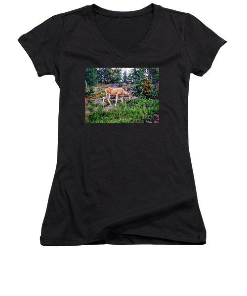 Women's V-Neck T-Shirt (Junior Cut) featuring the photograph Deer 1 by Dawn Eshelman