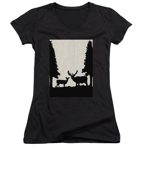 Deer In Forest Women's V-Neck T-Shirt (Junior Cut) by Enzie Shahmiri