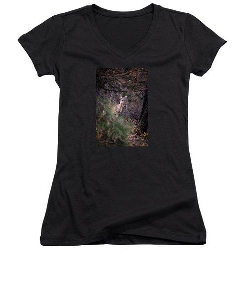 Deer's Stomping Grounds. Women's V-Neck T-Shirt (Junior Cut) by Joshua Martin