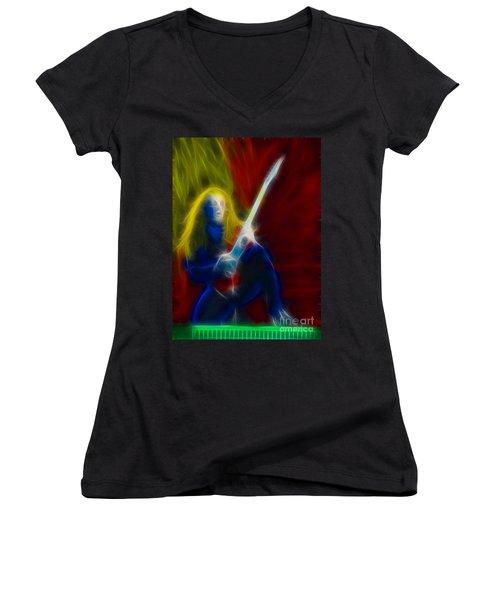 Def Leppard-adrenalize-ga5-vivian-fractal Women's V-Neck T-Shirt (Junior Cut) by Gary Gingrich Galleries