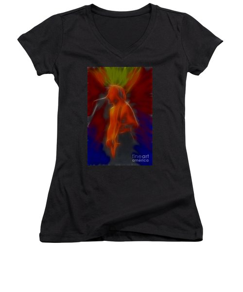 Def Leppard-adrenalize-gb13-phil-fractal Women's V-Neck T-Shirt (Junior Cut) by Gary Gingrich Galleries