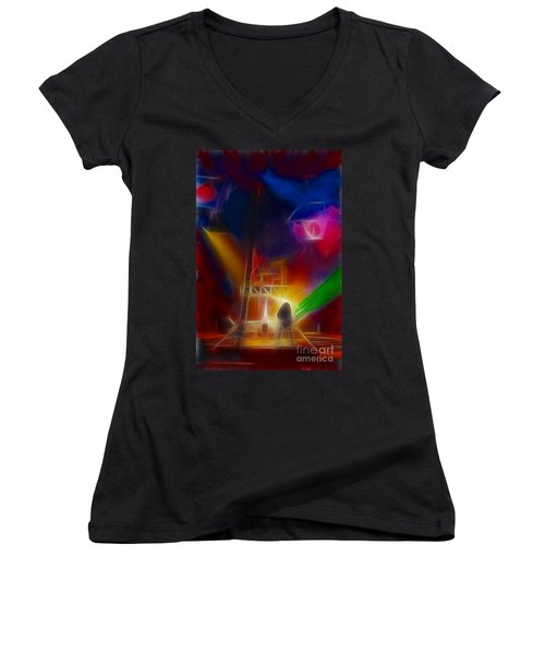 Def Leppard-adrenalize-gf10-fractal Women's V-Neck T-Shirt (Junior Cut) by Gary Gingrich Galleries