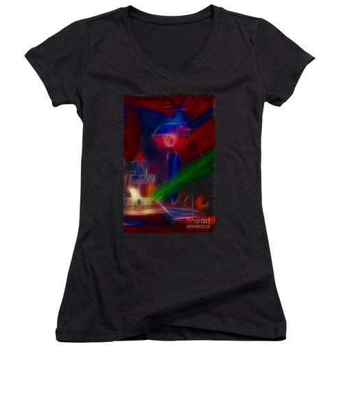 Def Leppard-adrenalize-gf12-fractal Women's V-Neck T-Shirt (Junior Cut) by Gary Gingrich Galleries