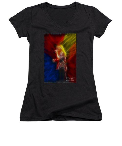 Def Leppard-adrenalize-joe-ga25-fractal Women's V-Neck T-Shirt (Junior Cut) by Gary Gingrich Galleries