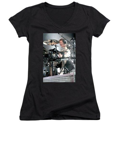 Def Leppard Women's V-Neck T-Shirt (Junior Cut) by Concert Photos