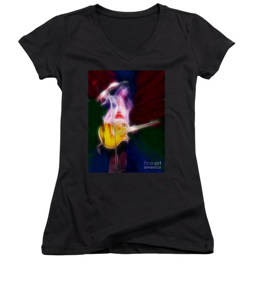 Deff Leppard-adrenalize-joe-gf25-fractal Women's V-Neck T-Shirt (Junior Cut) by Gary Gingrich Galleries