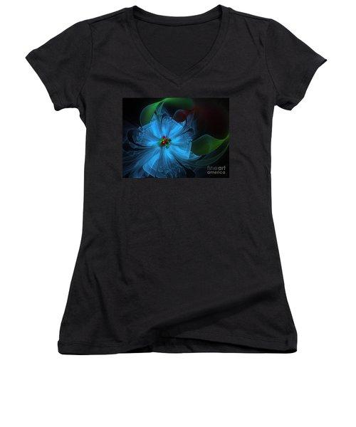 Delicate Blue Flower-fractal Art Women's V-Neck (Athletic Fit)