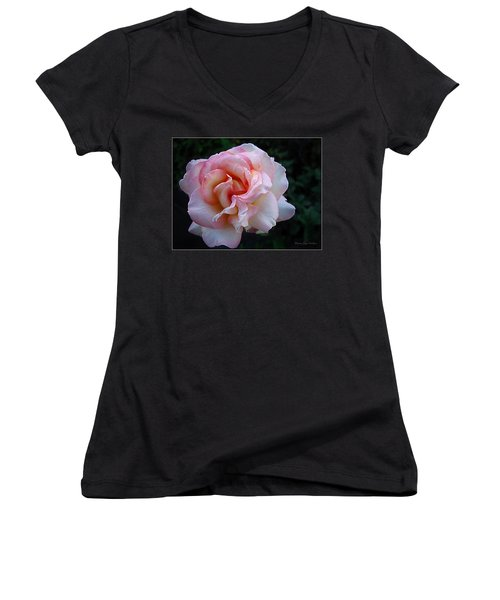 Women's V-Neck T-Shirt (Junior Cut) featuring the photograph Delicate Pink by Joyce Dickens