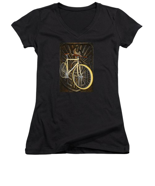 Women's V-Neck T-Shirt (Junior Cut) featuring the painting Demon Path Racer Bicycle by Mark Howard Jones