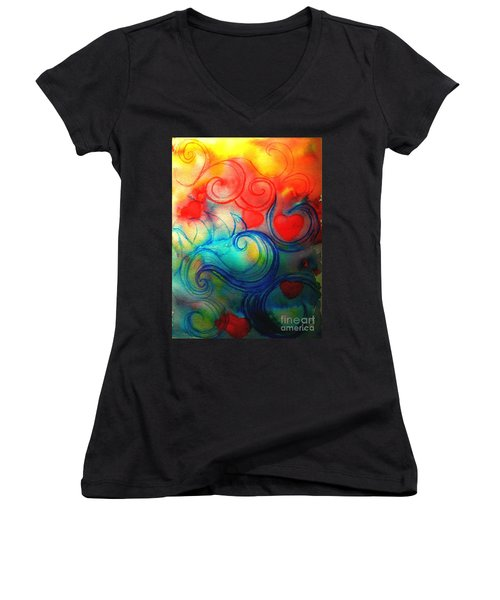 Women's V-Neck T-Shirt (Junior Cut) featuring the painting Depths Of His Love by Hazel Holland