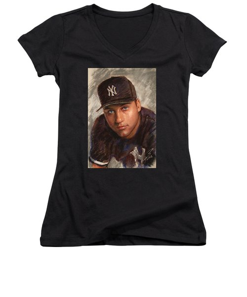 Derek Jeter Women's V-Neck T-Shirt (Junior Cut) by Viola El