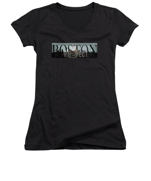Derek Jeter - Boston Women's V-Neck T-Shirt (Junior Cut) by Joann Vitali