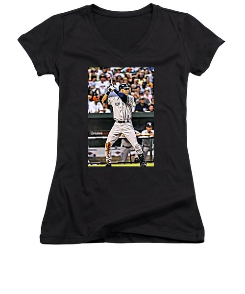 Derek Jeter Painting Women's V-Neck T-Shirt (Junior Cut) by Florian Rodarte