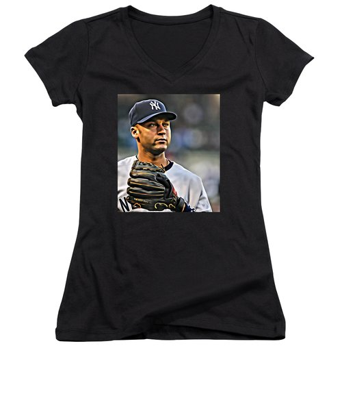Derek Jeter Portrait Women's V-Neck T-Shirt (Junior Cut) by Florian Rodarte