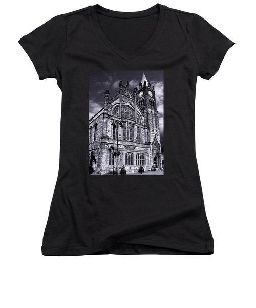 Women's V-Neck T-Shirt (Junior Cut) featuring the photograph Derry Guildhall by Nina Ficur Feenan