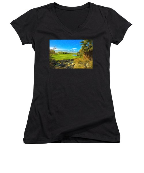 Desert Golf Resort Pastel Photograph Women's V-Neck (Athletic Fit)
