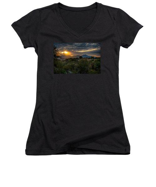 Women's V-Neck T-Shirt (Junior Cut) featuring the photograph Desert Sunset by Dan McManus