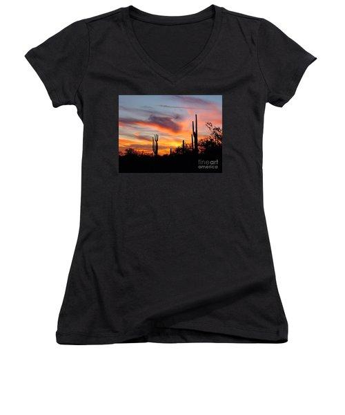 Desert Sunset Women's V-Neck T-Shirt (Junior Cut) by Joseph Baril