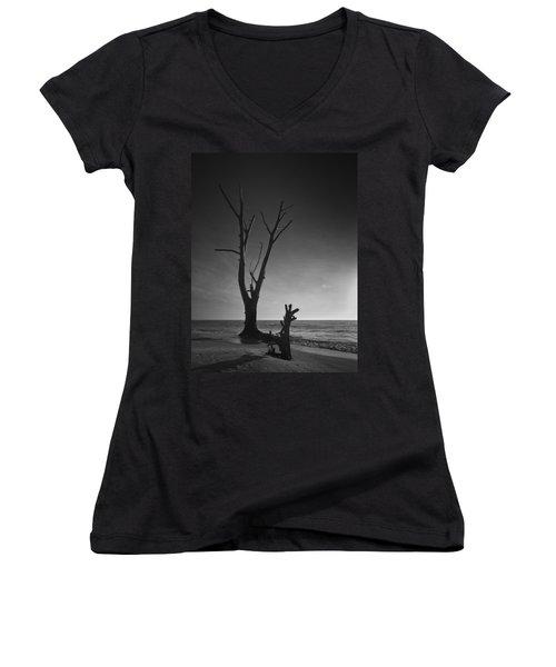 Deserted Beach Sunset Women's V-Neck T-Shirt