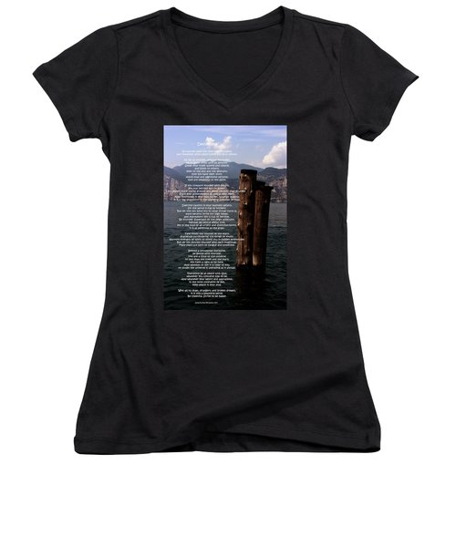 Desiderata On Lake View Women's V-Neck T-Shirt (Junior Cut) by Leena Pekkalainen