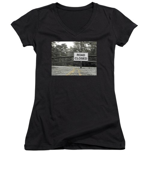 Women's V-Neck T-Shirt (Junior Cut) featuring the photograph Detour by Michael Krek