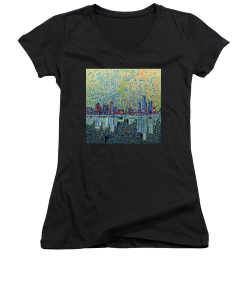 Detroit Skyline Abstract 3 Women's V-Neck T-Shirt