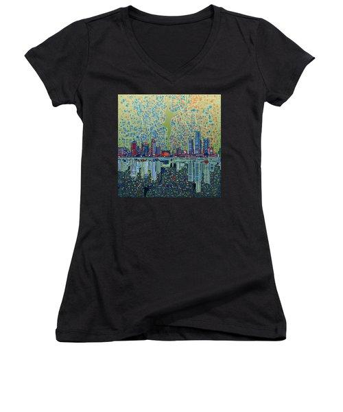 Detroit Skyline Abstract 3 Women's V-Neck T-Shirt (Junior Cut) by Bekim Art