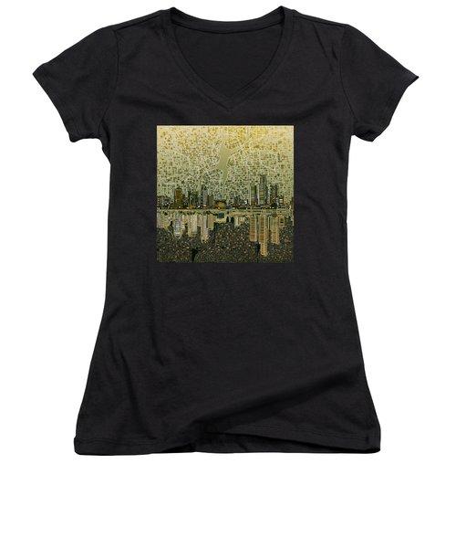 Detroit Skyline Abstract 4 Women's V-Neck T-Shirt