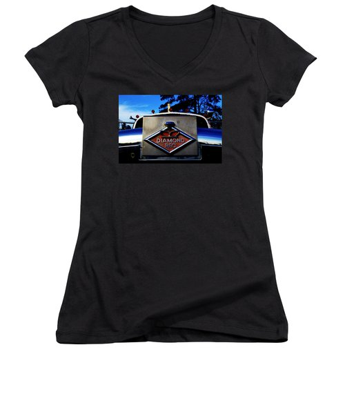 Diamond Reo Hood Ornament Women's V-Neck T-Shirt
