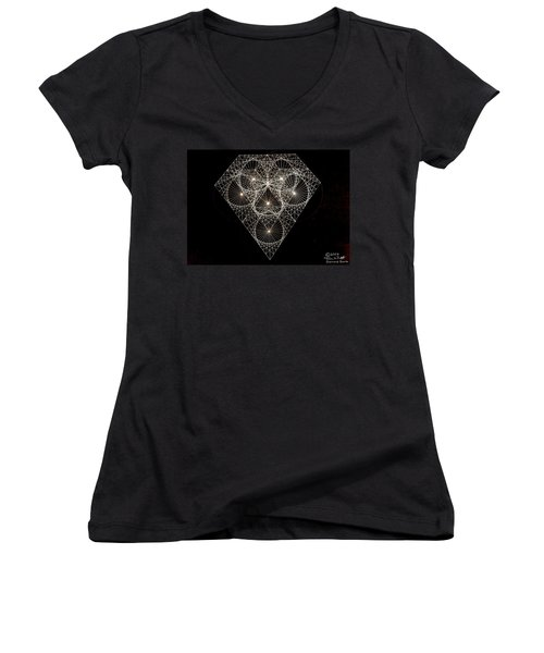 Women's V-Neck T-Shirt (Junior Cut) featuring the drawing Diamond White And Black by Jason Padgett