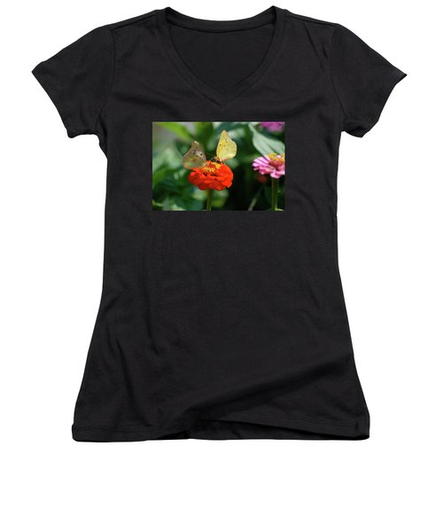 Women's V-Neck T-Shirt (Junior Cut) featuring the photograph Dinner Table For Two Butterflies by Thomas Woolworth