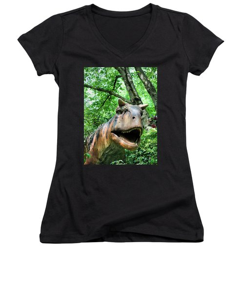 Dinosaur Women's V-Neck T-Shirt (Junior Cut) by Kristin Elmquist