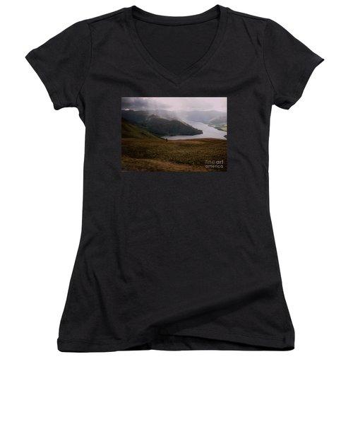 Women's V-Neck T-Shirt (Junior Cut) featuring the photograph Distant Hills Cumbria by John Williams
