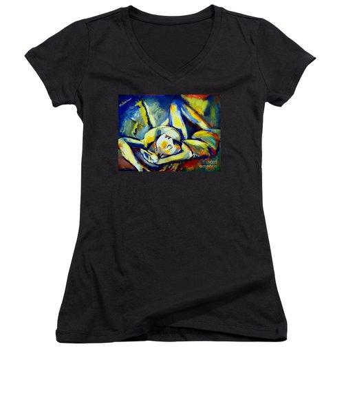 Distressful Women's V-Neck T-Shirt (Junior Cut) by Helena Wierzbicki